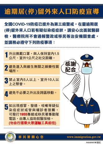 圖6、移民署「逾期居(停)留外來人口防疫宣導」圖片。