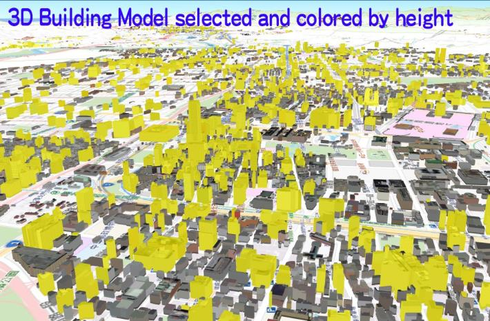 3D Building Model selected and colored by height.jpg