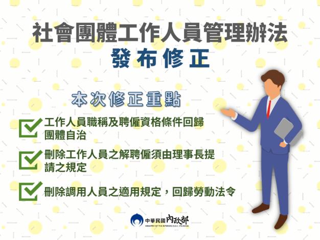 社會團體工作人員管理辦法發布修正.png