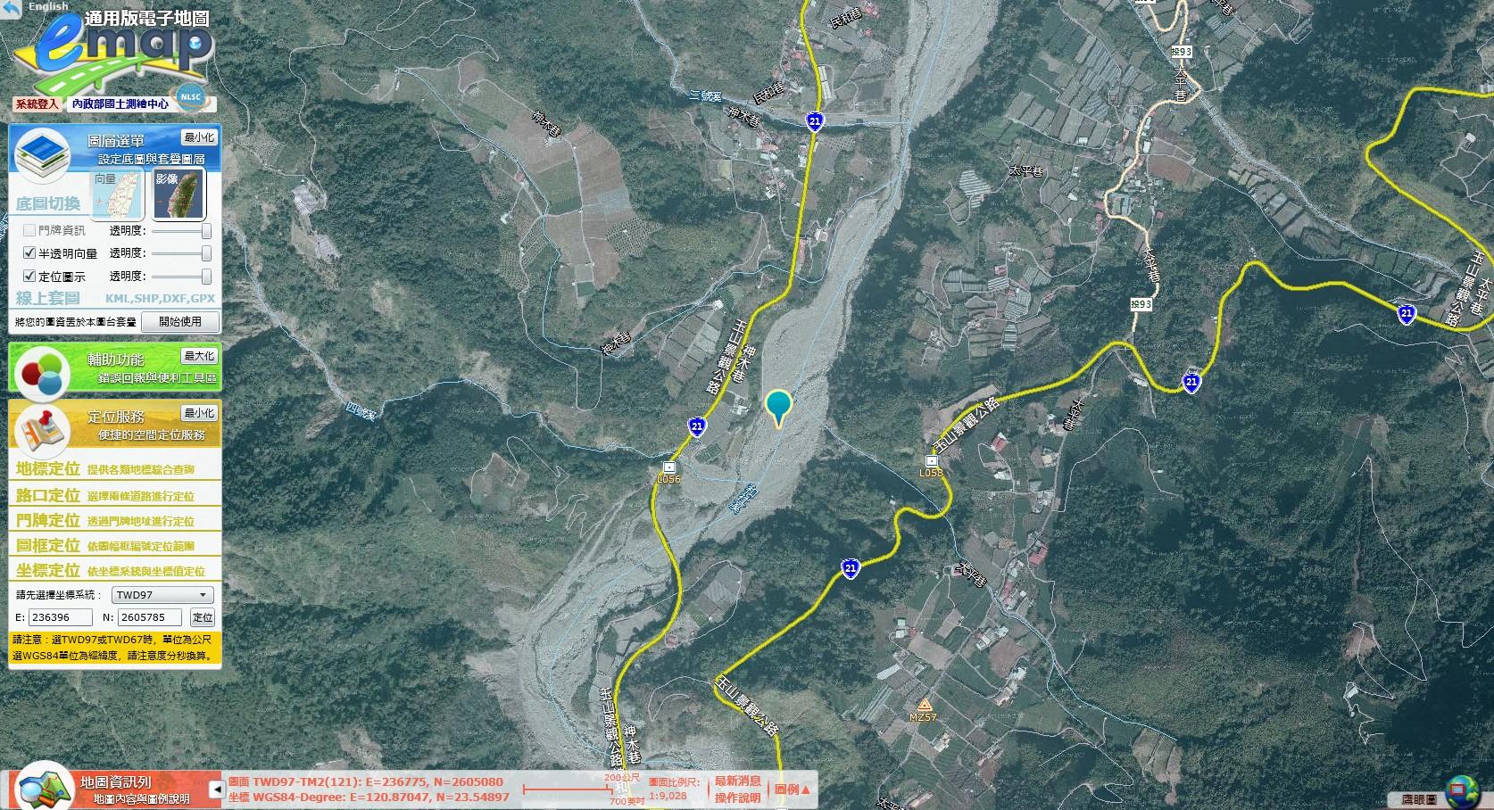 臺灣通用電子地圖標示堰塞湖位置