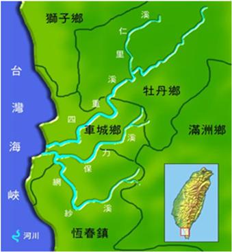 四重溪及保力溪河川流域圖