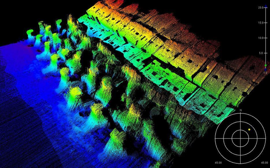 海床特徵物偵測成果(魚礁)