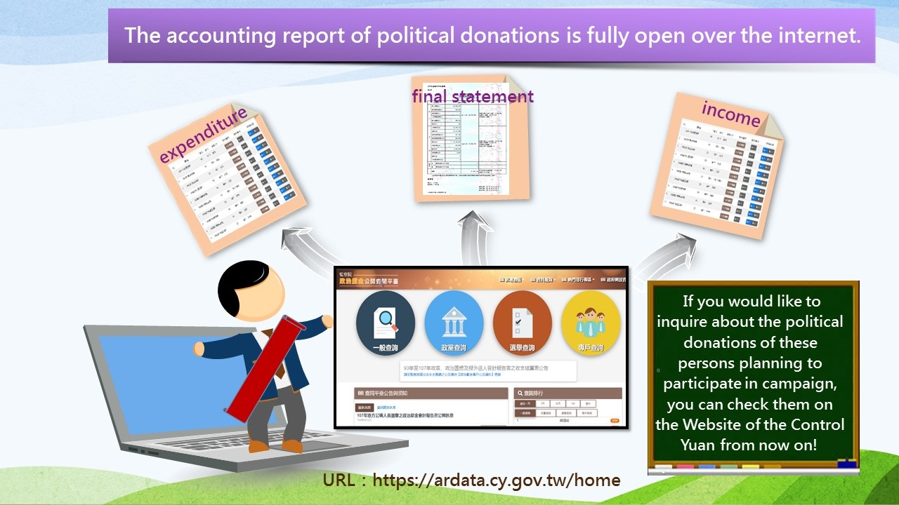 The accounting report of political donations is fully open over the internet