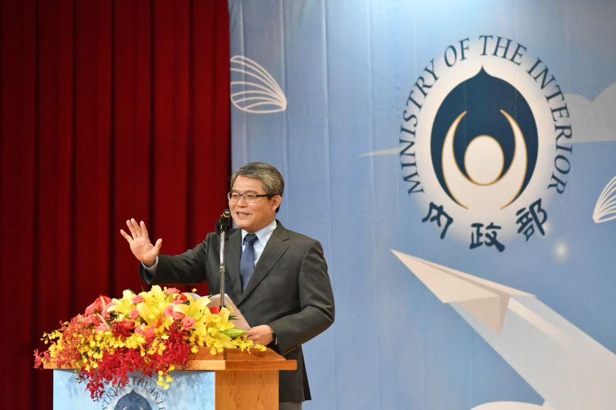 內政部政次花敬群期望獲獎團體帶動社會參與公益的良善風氣,共同為臺灣社會的安定與繁榮努力。