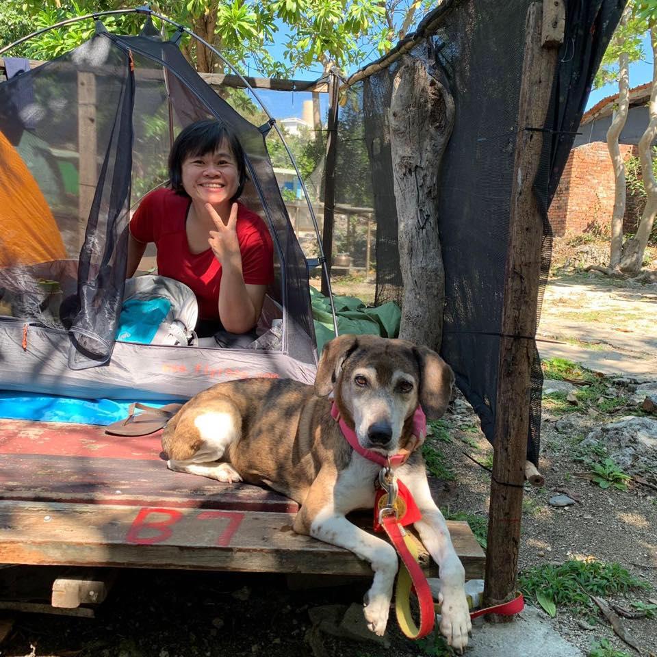 退役搜救犬阿六與朱小姐的野營生活