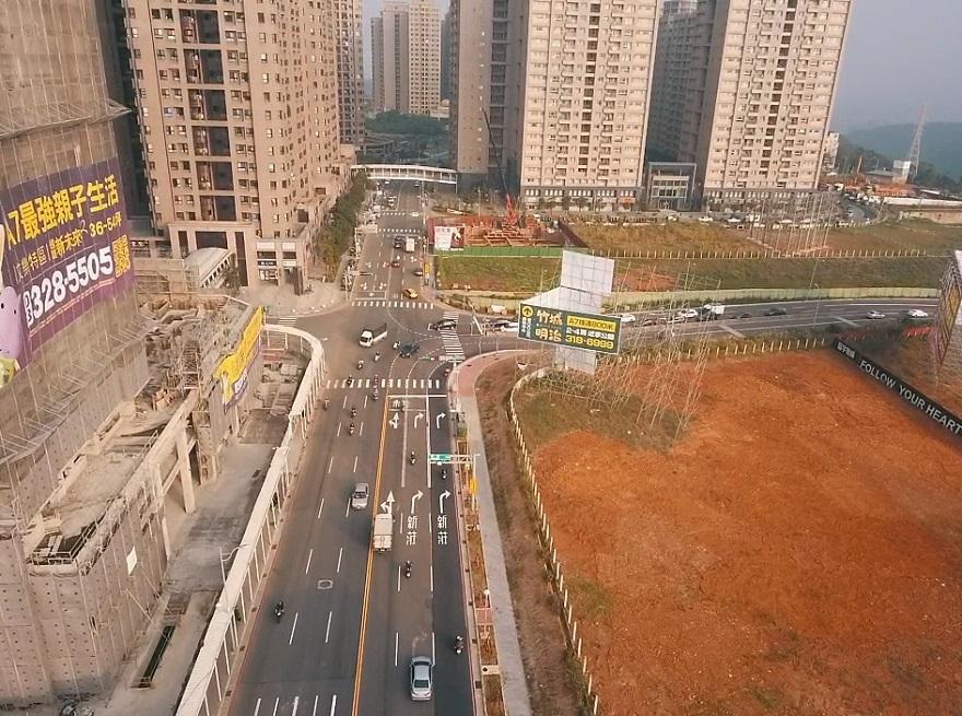 機場捷運A7站地區區段徵收公共工程文青路拓寬後空拍照片(近景)