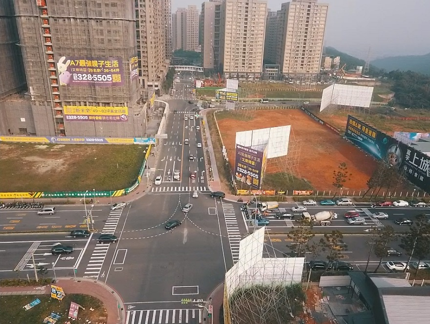 機場捷運A7站地區區段徵收公共工程文青路拓寬後空拍照片(遠景)