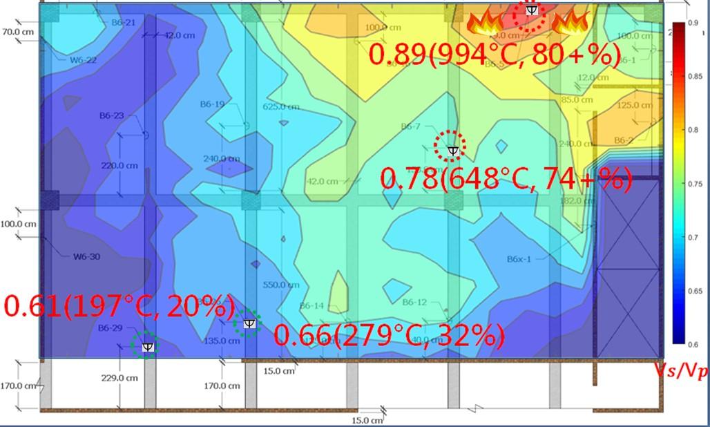 火害現場溫度分佈及建築物強度折減比例判識圖