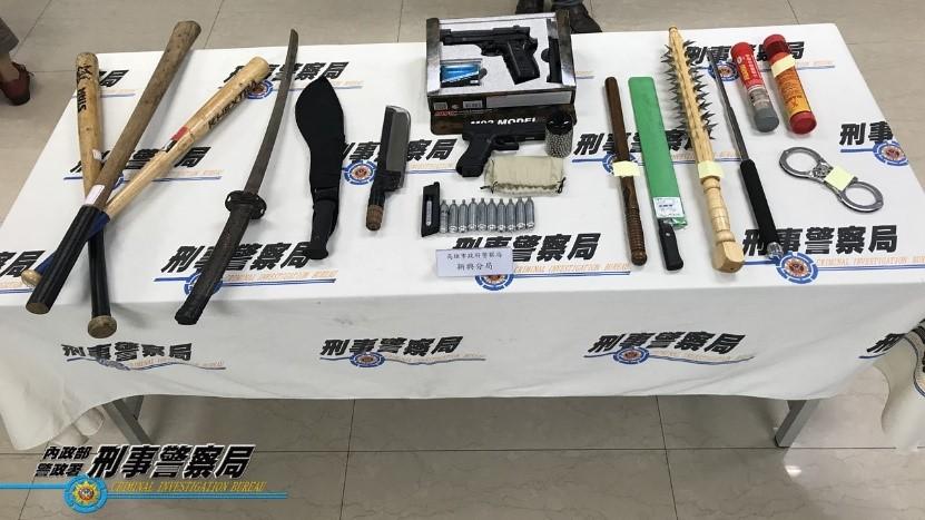 109年7月8日本部警政署「靖網賭、除黑垢、打錢莊行動」記者會展示案件贓證物。