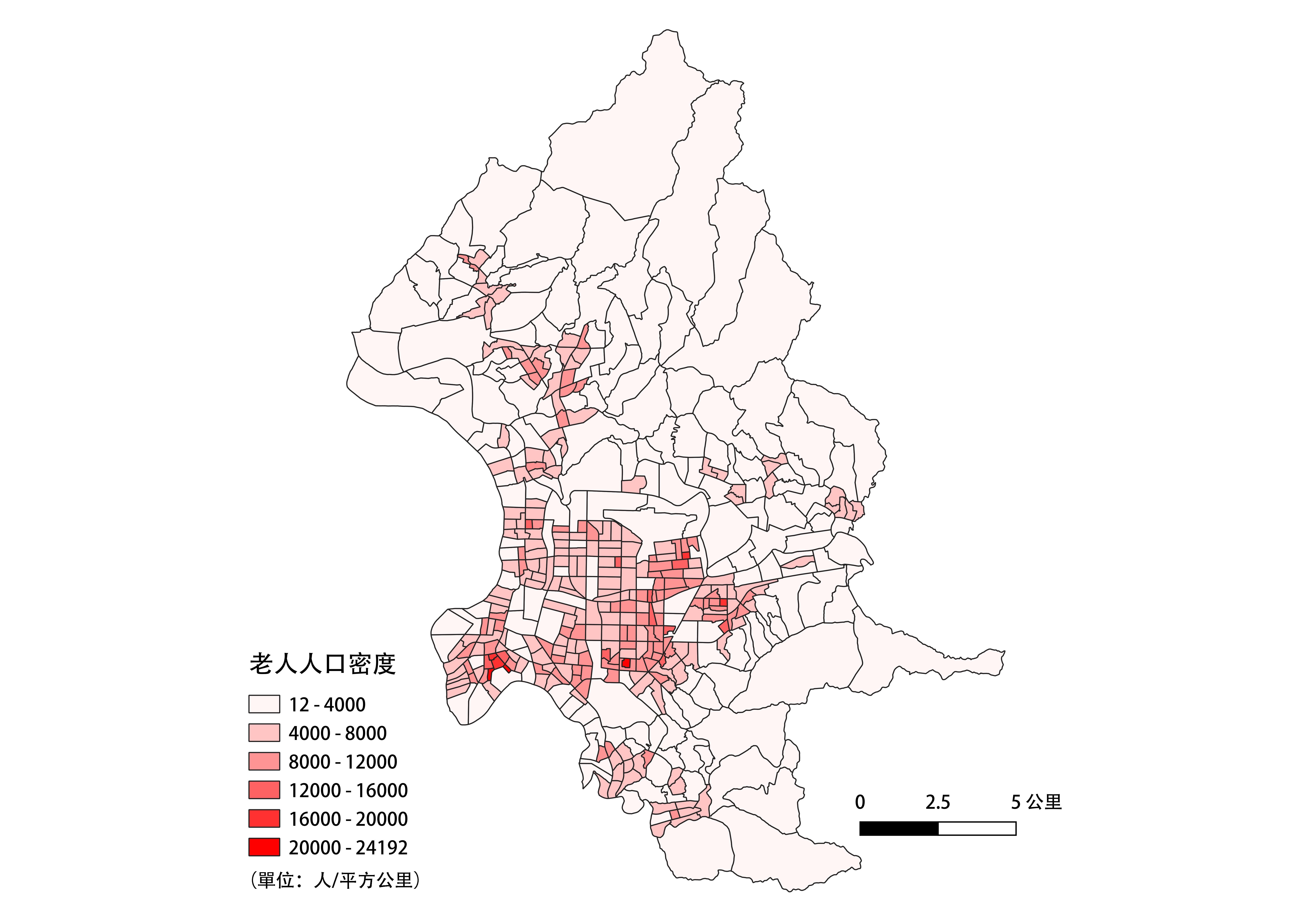 臺北市老年人口密度面量圖