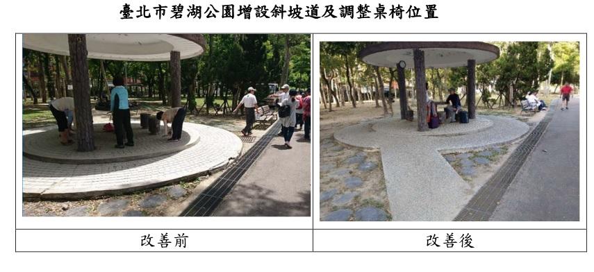 臺北市碧湖公園增設斜坡道及調整桌椅位置