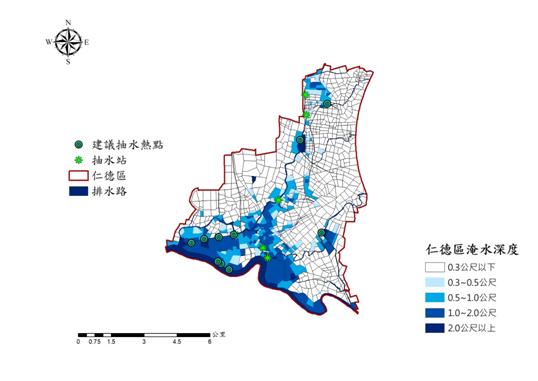圖14. 颱風豪雨期間抽水機建議佈設位置
