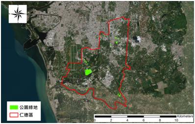 圖15. 仁德地區校園綠地分布