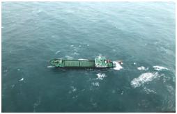 蒙古國籍貨輪星爵號彰化外海船身傾斜照片