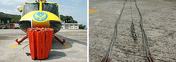 左圖:檢查外觀是否破損;右圖:檢查鋼索是否斷裂、糾結不齊。