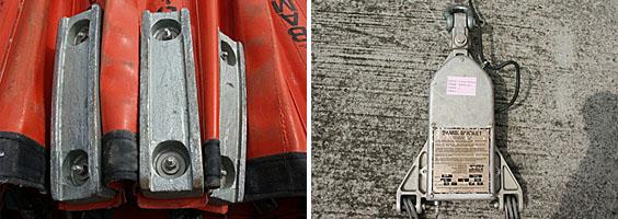 左圖:檢查配重塊是否脫落;右圖:檢查控制頭,是否損壞。
