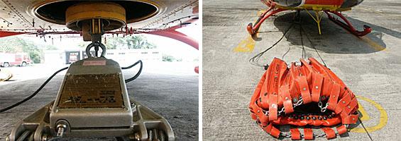左圖:將配重塊朝上,控制頭資料牌朝前;右圖:安裝於機腹吊掛。