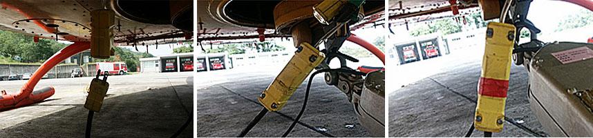 左圖:電源座插上;中圖:測試水袋放水開關;右圖:纏繞膠布於電源插座結合處上。