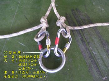 O型鉤環材質為鍛造鋼材質製;內徑7.5公分,線徑1.5公分,公差5%;重量約11盎司,公差5%;承受拉力:38,000磅以上