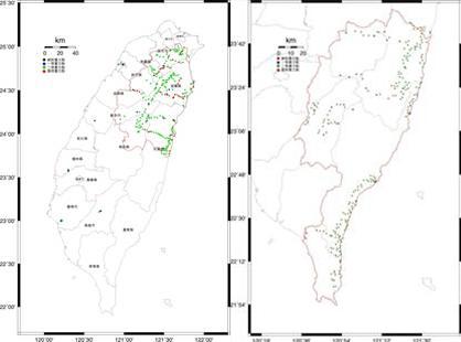 花東及山區重力點位分布圖(左)100年、(右)101年