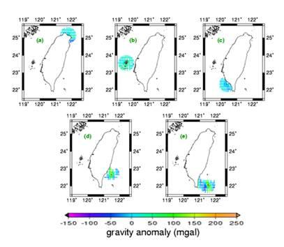 船載重力異常圖(左上)基隆(中上)澎湖(右上)                 小琉球(左下)綠島(右下)蘭嶼