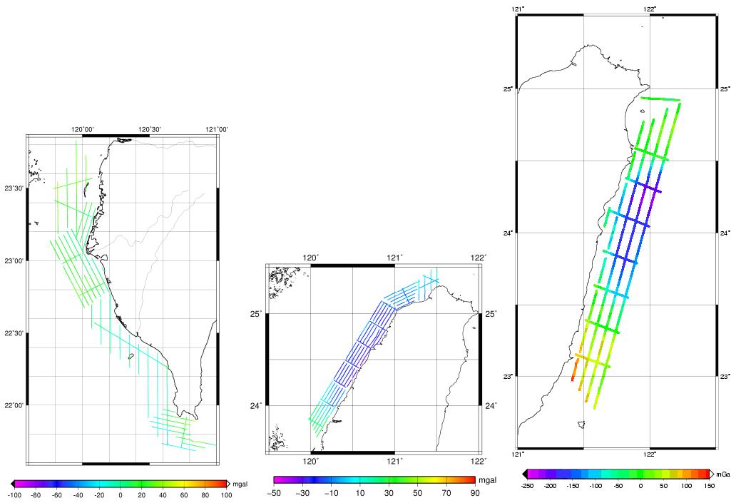 近岸船載重力測量之重力異常圖(左)100年、(中)101年、(右)102年