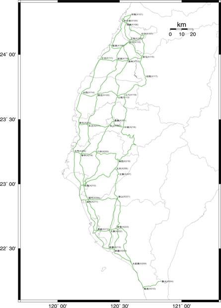 94年度一等水準網檢測路線圖