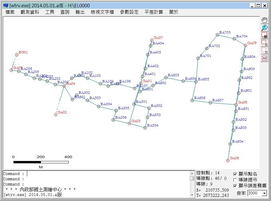 視窗版導線網計算程式系統畫面*