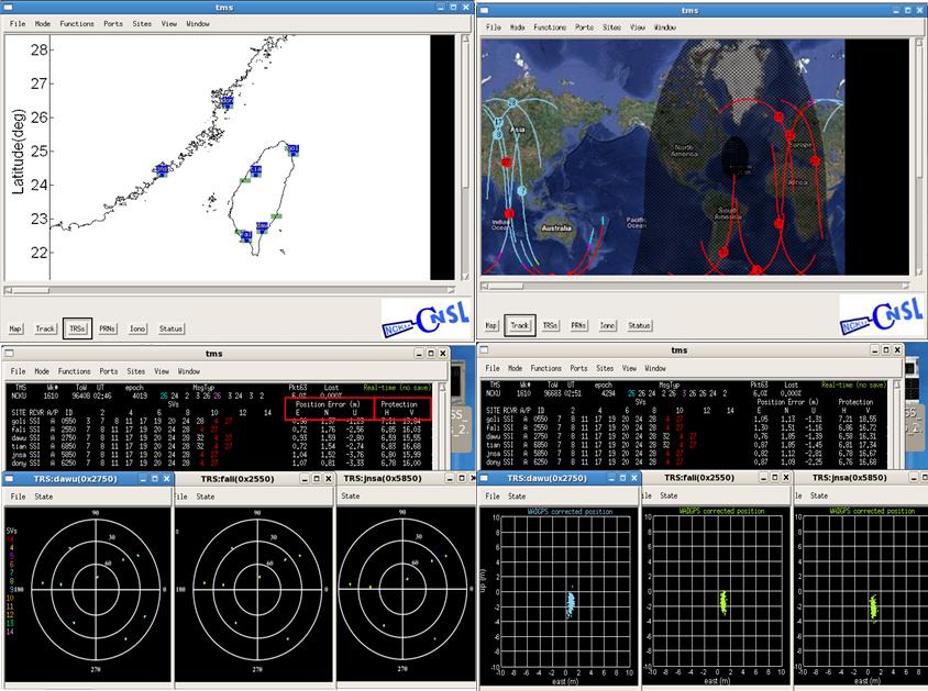 廣域差分定位系統主控站平台各項監控模組運作及顯示功能