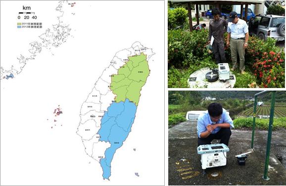 花東及山區重力測量辦理範圍圖及成果驗收情形