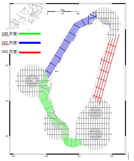 100至102年度測區航線圖