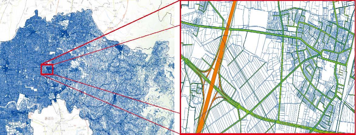 地籍圖資料接合對位加值作業成果套疊臺灣通用電子地圖道路圖層