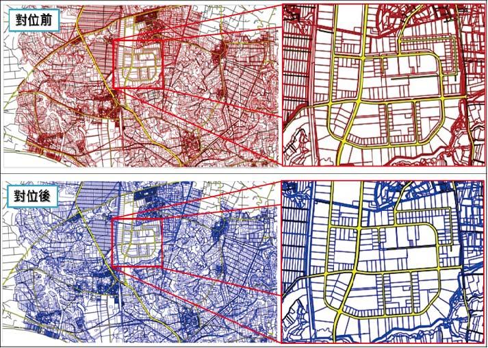 地籍圖資料接合對位前後對比