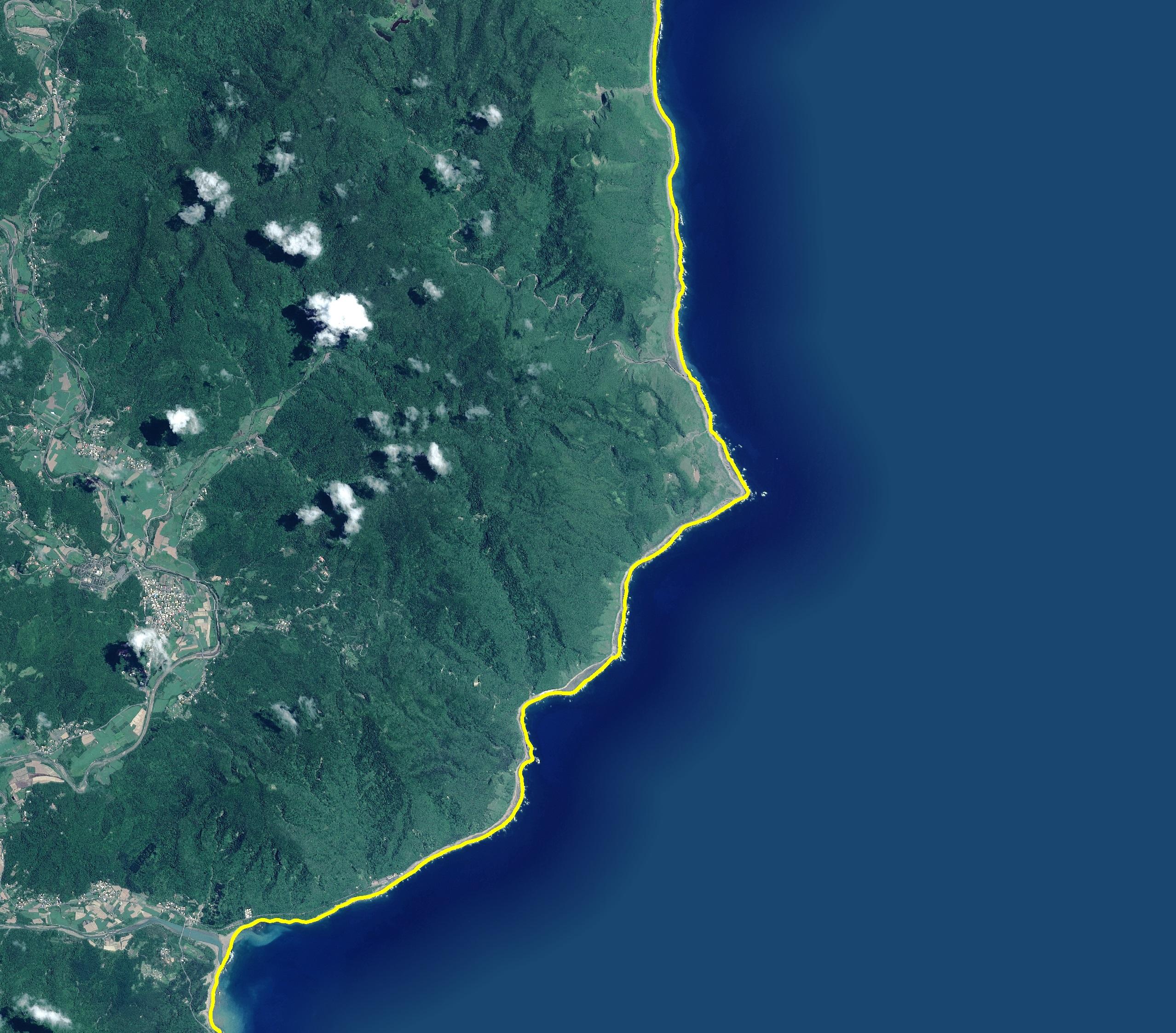 自然海岸線套疊衛星影像
