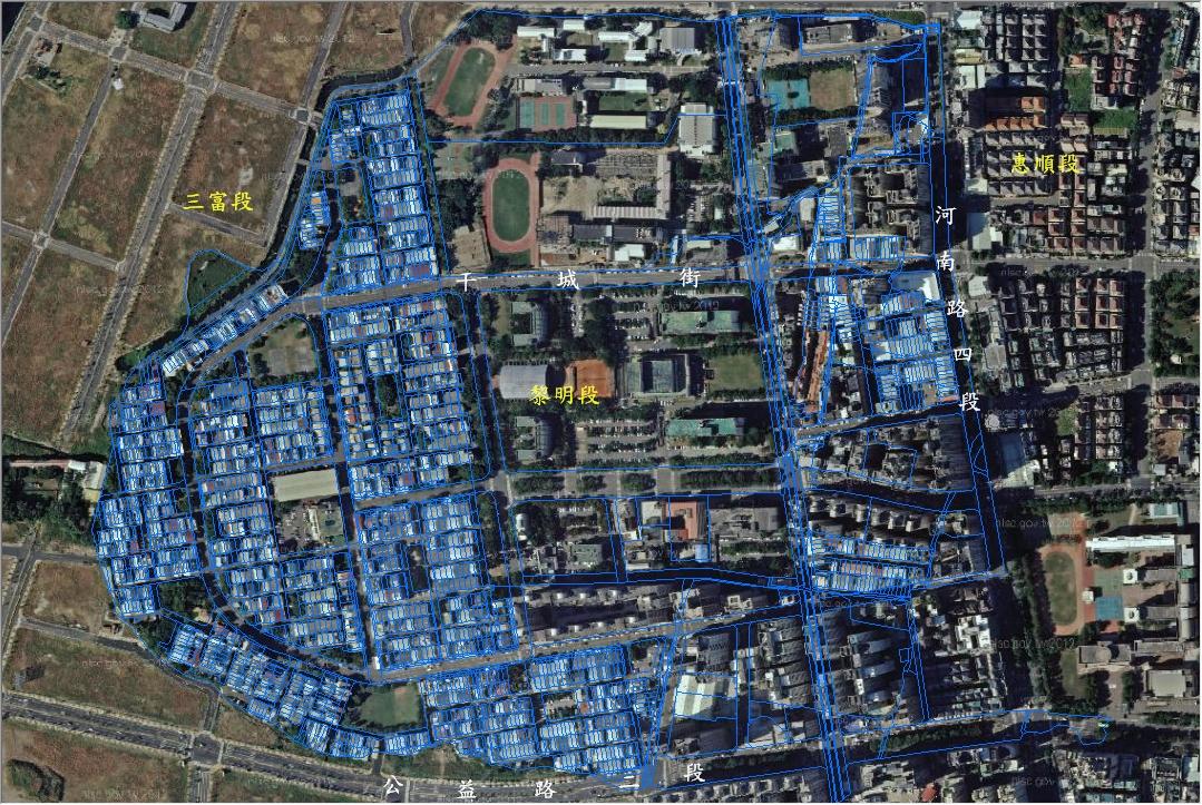 航測影像與地籍圖套疊