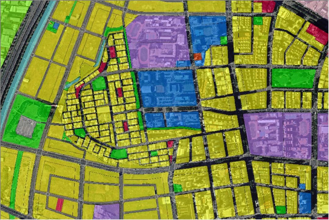 航測影像與都市計畫使用分區圖套疊