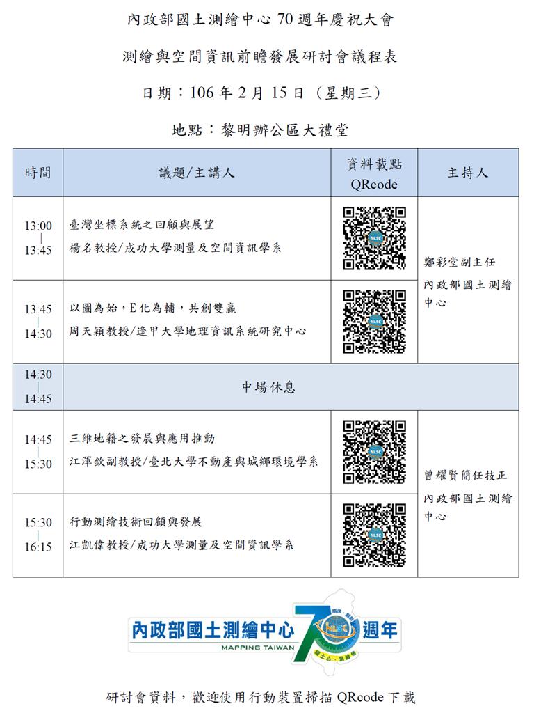 測繪與空間資訊前瞻發展研討會議程表