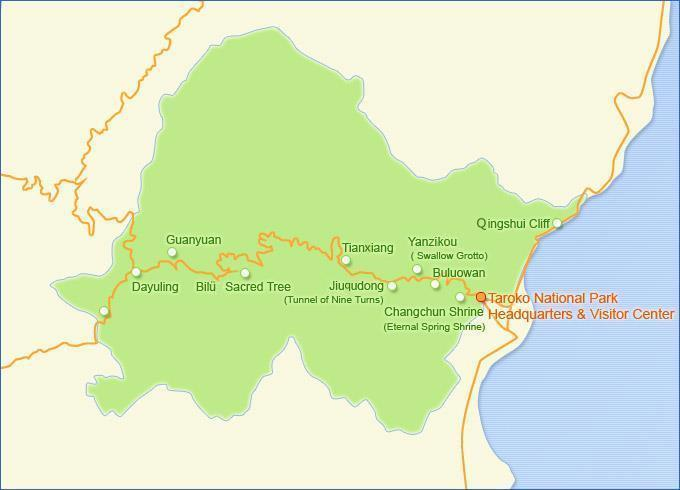 The Overall Map of Taroko National Park