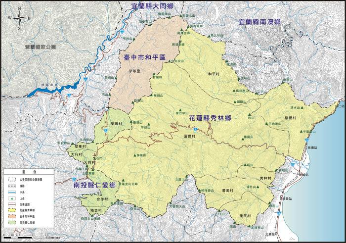 太魯閣國家公園座落位置