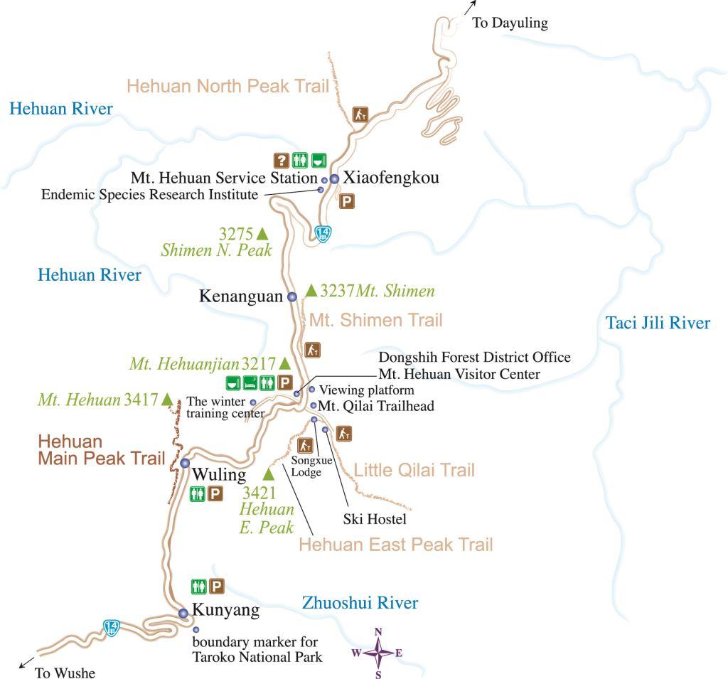 Schematic diagram of Mt. Hehuan Main Peak Trail map